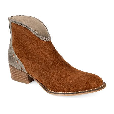 Journee Signature Womens Gracie Booties Stacked Heel, 7 Medium, Brown