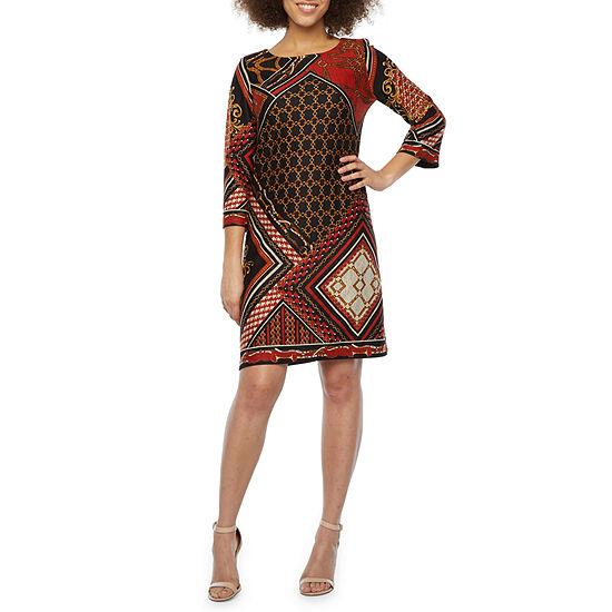R & K Originals 3/4 Sleeve Abstract Shift Dress