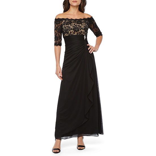 DJ Jaz Short Sleeve Off The Shoulder Embellished Evening Gown