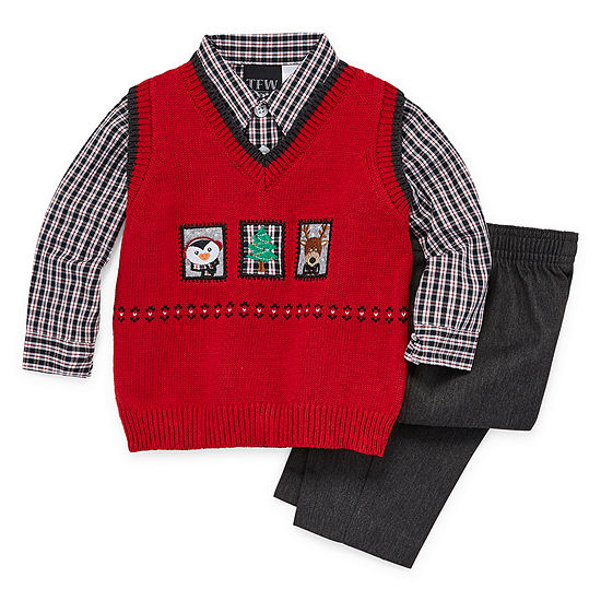 TFW Christmas Sweater Vest Baby Boys 3-pc. Pant Set