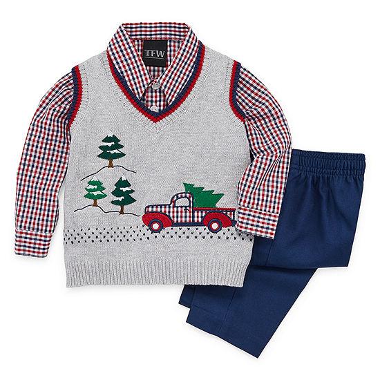 TFW Christmas Sweater Vest Boys 3-pc. Pant Set Baby