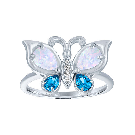 Womens Lab Created Multi Color Opal Sterling Silver Butterfly Cocktail Ring