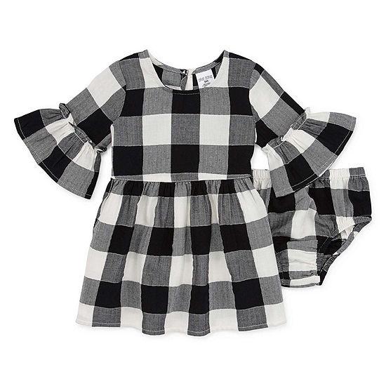 Okie Dokie Girls Long Sleeve Drop Waist Dress - Baby