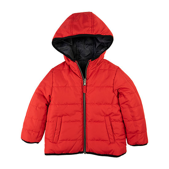 Carter's - Boys Hooded Reversible Water Resistant Heavyweight Puffer Jacket-Baby