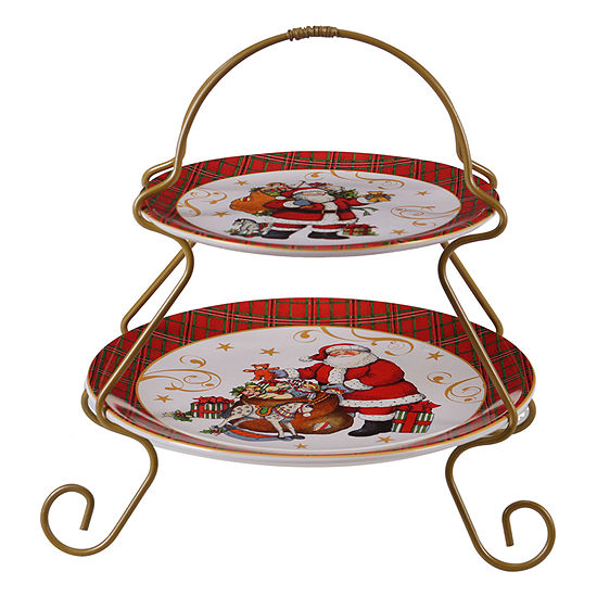 Certified International Vintage Santa Tiered Server