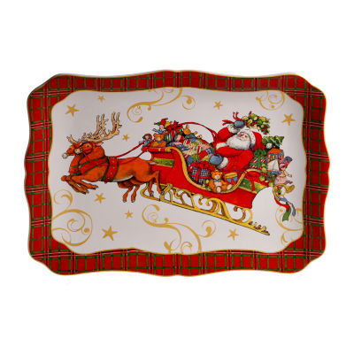 Certified International Vintage Santa Serving Platter
