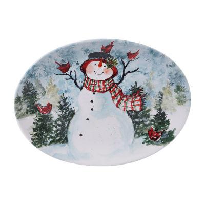 Certified International Watercolor Snowman Serving Platter