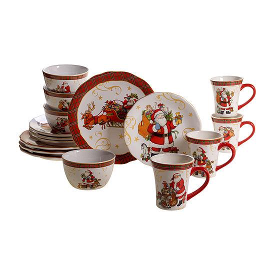 Certified International Vintage Santa 16-pc. Dinnerware Set