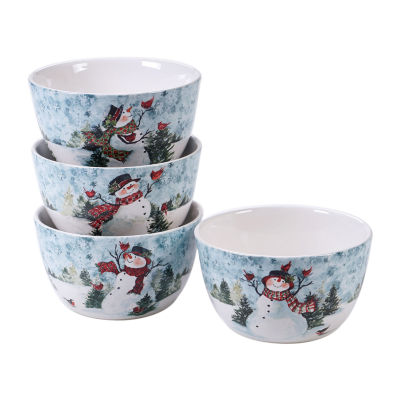 Certified International Watercolor Snowman 4-pc. Ice Cream Bowl