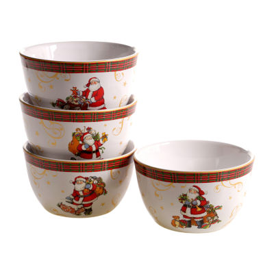 Certified International Vintage Santa 4-pc. Ice Cream Bowl