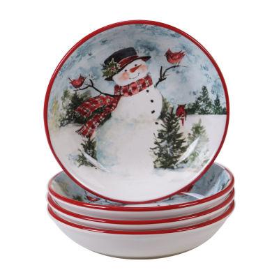 Certified International Watercolor Snowman 4-pc. Soup Bowl