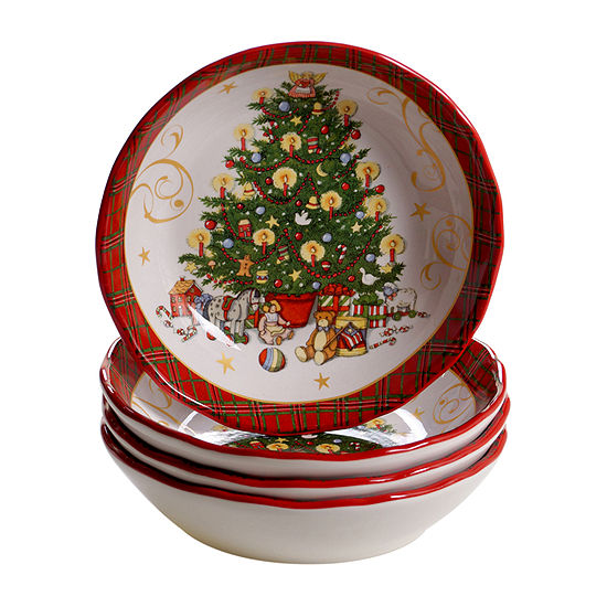 Certified International Vintage Santa 4-pc. Soup Bowl