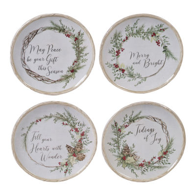 Certified International Holly And Ivy 4-pc. Appetizer Plate