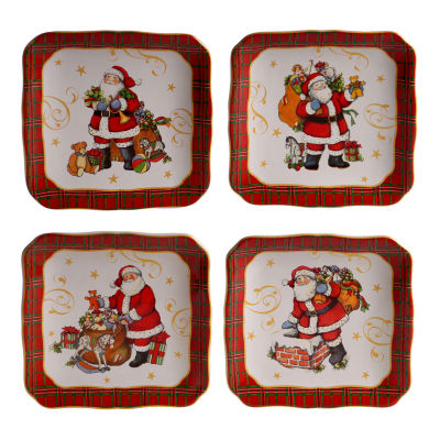 Certified International Vintage Santa 4-pc. Appetizer Plate