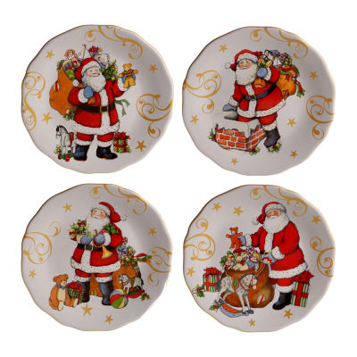 Certified International Vintage Santa 4-pc. Dessert Plate