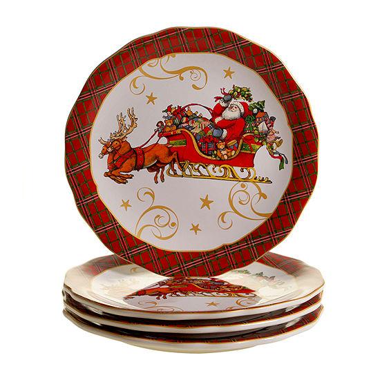 Certified International Vintage Santa 4-pc. Dinner Plate