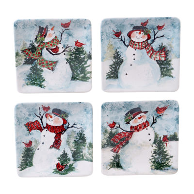 Certified International Watercolor Snowman 4-pc. Appetizer Plate