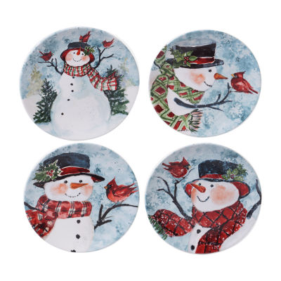 Certified International Watercolor Snowman 4-pc. Dessert Plate