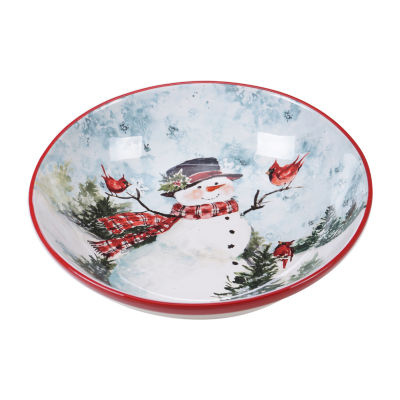 Certified International Watercolor Snowman Serving Bowl
