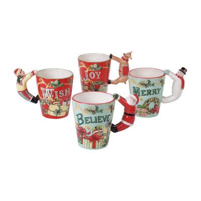Certified International Believe   3-D 4-pc. Coffee Mug