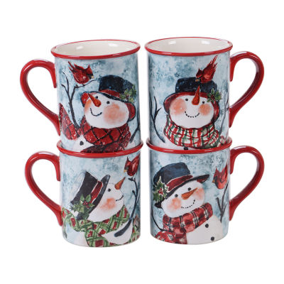 Certified International Watercolor Snowman 4-pc. Coffee Mug