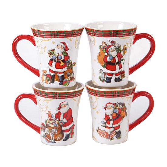 Certified International Vintage Santa 4-pc. Coffee Mug