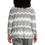 Alfred Dunner-Plus Lake Geneva Womens Crew Neck Long Sleeve Pullover Sweater
