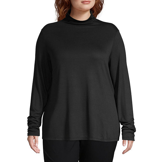 Worthington Womens Long Sleeve Turtleneck - Plus