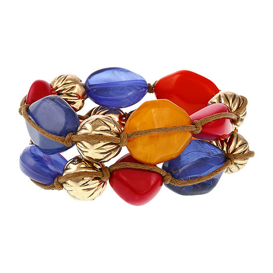 Erica Lyons Brights Gold Tone Beaded Bracelet