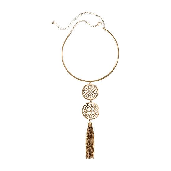 EL by Erica Lyons Orange Fuchsia 16 Inch Round Collar Necklace