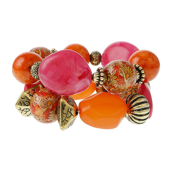 EL by Erica Lyons Orange Fuchsia Oval Stretch Bracelet