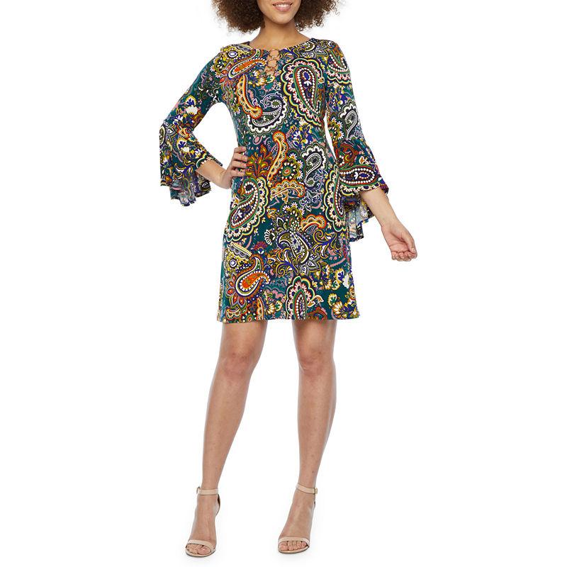 70s Dresses – Disco Dress, Hippie Dress, Wrap Dress MSK 34 Bell Sleeve Paisley Swing Dresses Womens Size Small Blue $24.96 AT vintagedancer.com