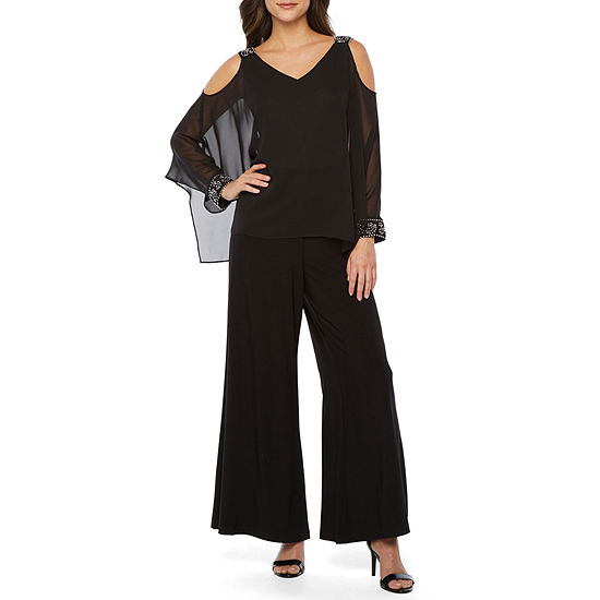 Scarlett Long Sleeve Cold Shoulder Embellished Cape Jumpsuit