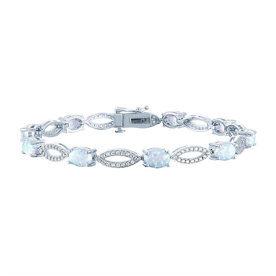 Lab Created White Opal Sterling Silver Tennis Bracelet