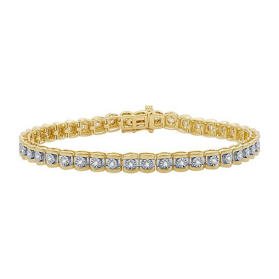 1/2 CT. T.W. Genuine Diamond 14K Gold Over Silver 7.5 Inch Tennis Bracelet