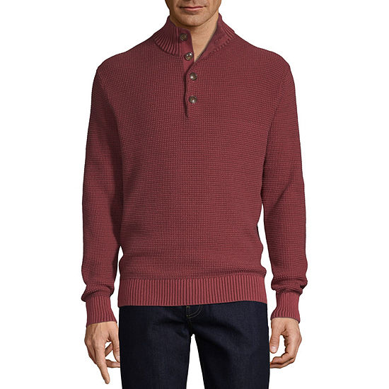 St. John's Bay Outdoor Mock Neck Long Sleeve Pullover Sweater