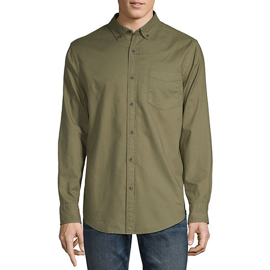 Arizona Mens Long Sleeve Button-Front Shirt