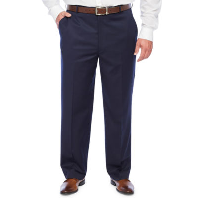 Stafford Super Navy Flat Front Suit Pants - Big & Tall
