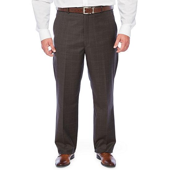 Stafford Super Suit Windowpane Stretch Suit Pants