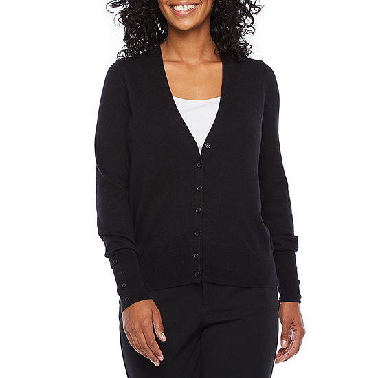 Worthington® Long-Sleeve Button-Front Cardigan - Petite