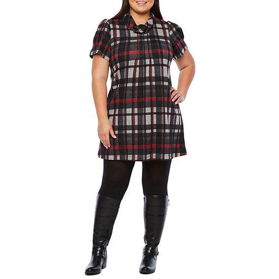 Jessica Howard-Plus Short Sleeve Plaid Shift Dress