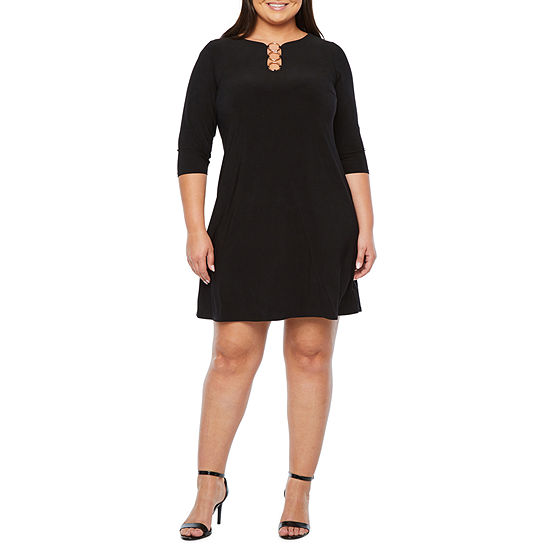 MSK 3/4 Sleeve Shift Dress-Plus