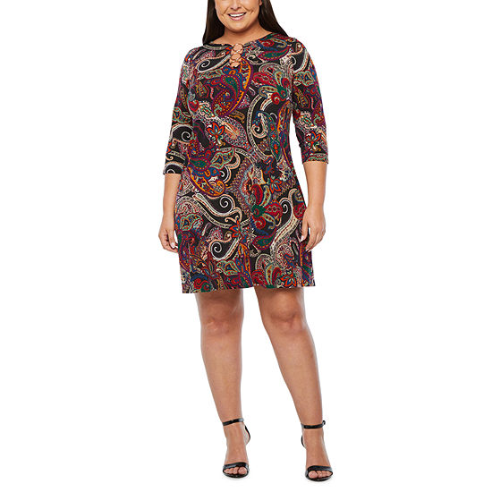 MSK-Plus 3/4 Sleeve Paisley Shift Dress