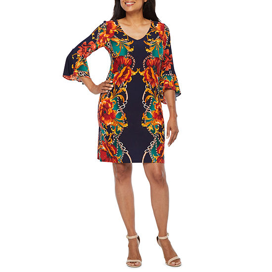 MSK 3/4 Bell Sleeve Floral Shift Dress-Petite