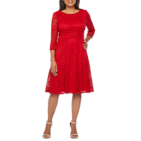 Studio 1 3/4 Sleeve Lace Fit & Flare Dress-Petite