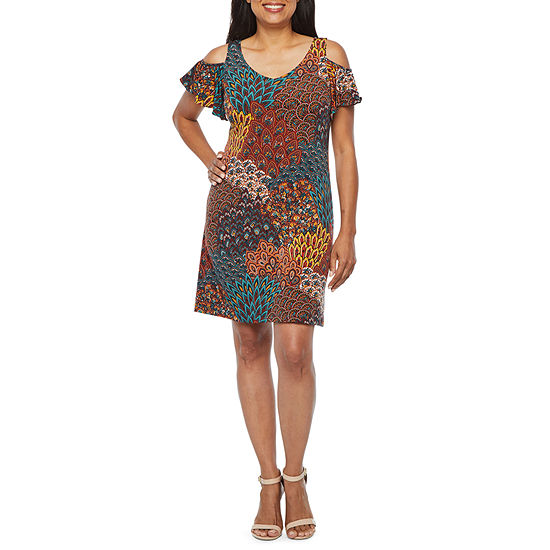 MSK Short Sleeve Cold Shoulder Feather Print Shift Dress-Petite