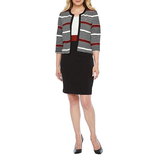 Studio 1 3/4 Sleeve Striped Jacket Dress-Petite