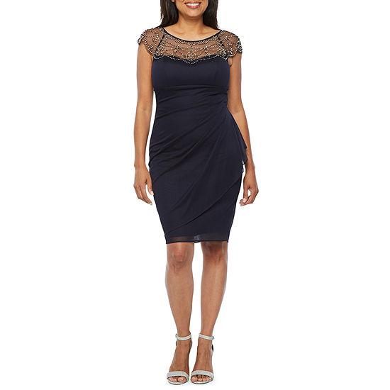 DJ Jaz-Petite Short Sleeve Embellished Sheath Dress