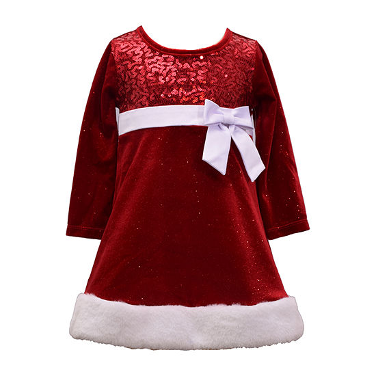 Bonnie Jean Christmas Girls Long Sleeve A-Line Dress - Baby