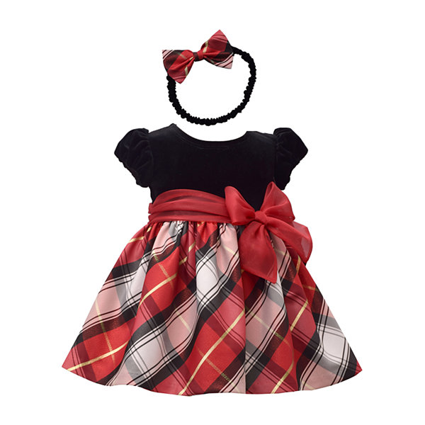 Bonnie Jean 2-pc. Girls Short Sleeve Plaid A-Line Dress - Baby